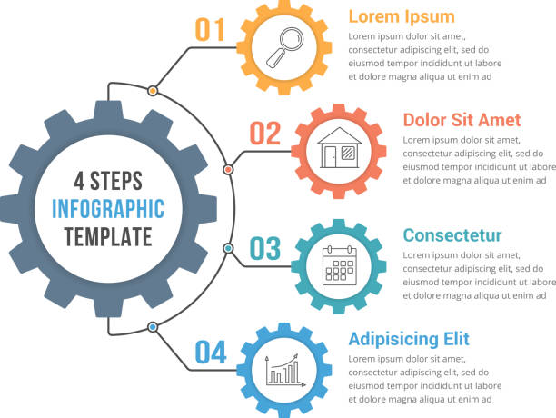 Infographic Template with Gear Infographic template with gear with four elements, steps or options, vector eps10 illustration vehicle part stock illustrations