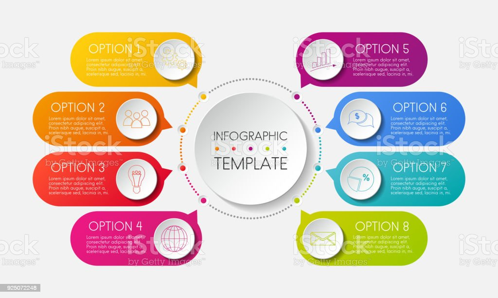 Infographic template with options and colorful icons. Vector. vector art illustration