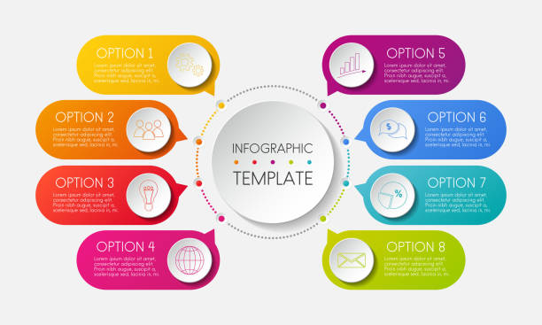infographic template with options and colorful icons. vector. - infographics stock illustrations, clip art, cartoons, & icons