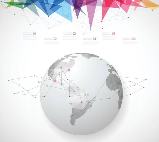 多角形のグローブを持つインフォ グラフィック テンプレート。 - 人口統計のインフォグラフィック点のイラスト素材/クリップアート素材/マンガ素材/アイコン素材