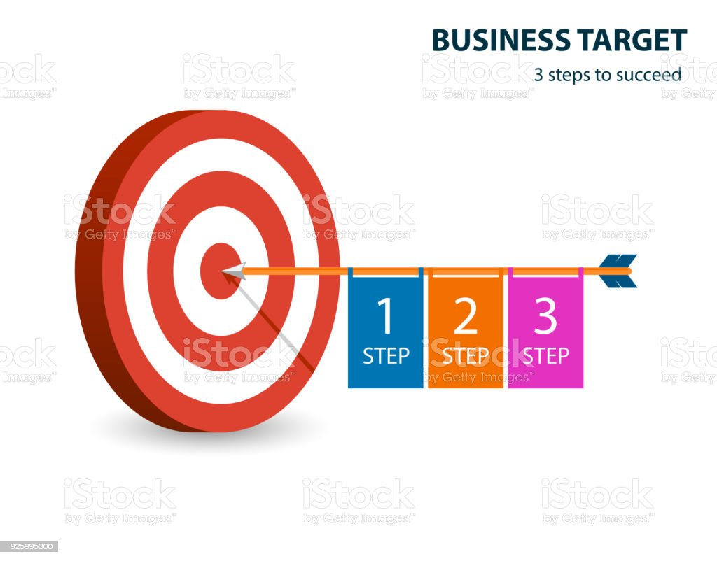 infographic template with target and dart business target 3 steps to