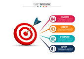 Infographic template with target and dart.