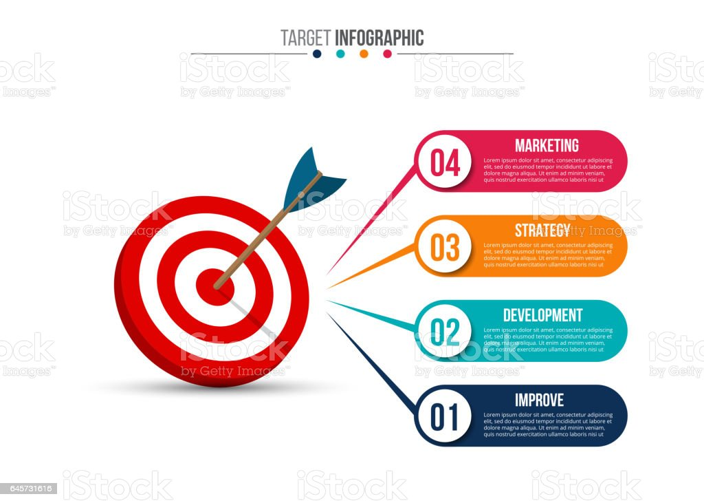 Infographic template with target and dart. vector art illustration