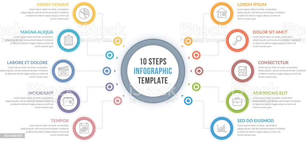 Infographic Template with Ten Steps vector art illustration
