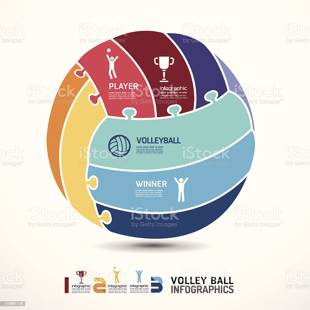 infographic Template with volleyball jigsaw banner . royalty-free stock vector art