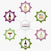 Wine icons on a modern colourful infographic template. Text is on its own layer for easy removal. File is built in CMYK.