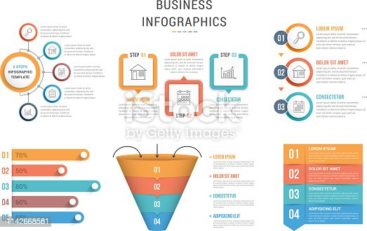 Six infographic templates for web, business, presentations - steps, options, funnel diagram, bar graph, vector eps10 illustration
