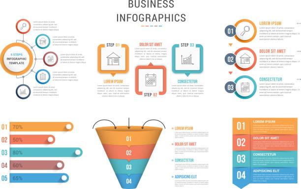 illustrations, cliparts, dessins animés et icônes de modèles infographiques - infographie médias sociaux