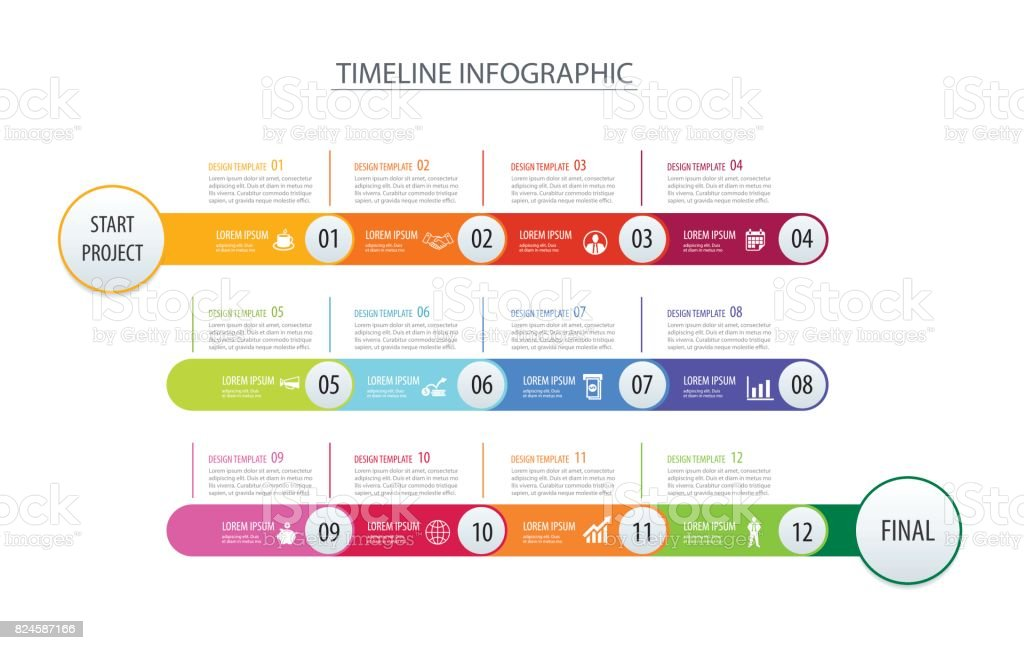 Infographic timeline 1 year template business concept arrows.Vector can be used for workflow layout, diagram, number step up options, web design vector art illustration