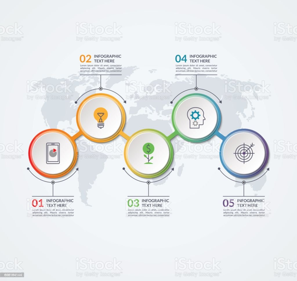 Infographic timeline design template of 5 circular elements on the infographic timeline design template of 5 circular elements on the world map background can be gumiabroncs Choice Image