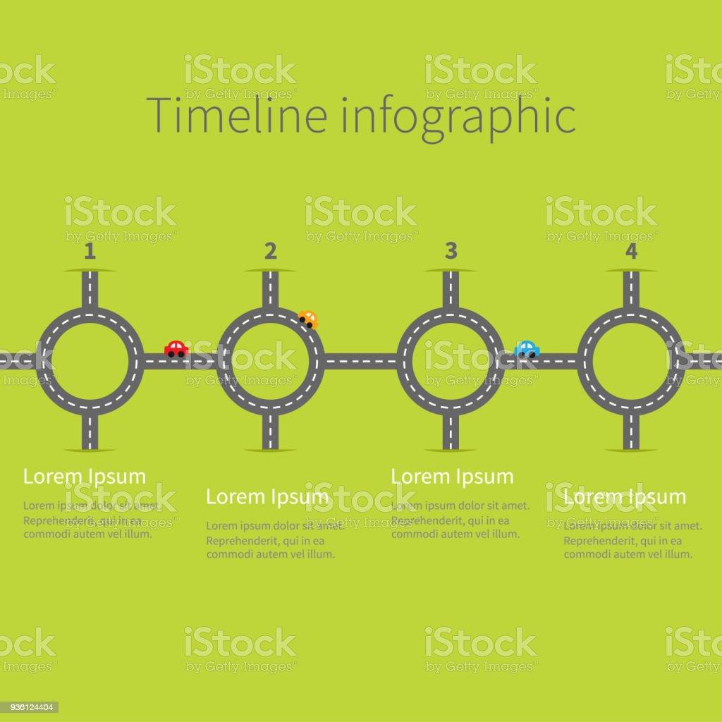 Infographic Timeline Cuatro Paso Redondo Círculo Cruce Conjunto ...