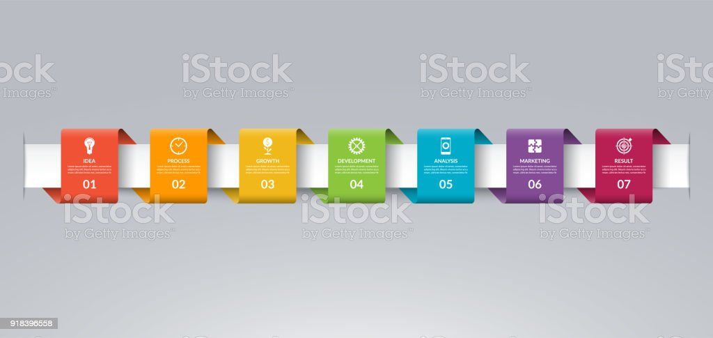 Infographic timeline template in the form of colored paper tapes. Vector banner with 7 options, steps, parts. Can be used for for web, workflow layout, time line, diagram, chart, graph vector art illustration