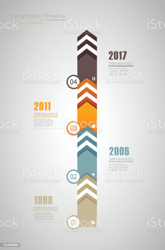 Infographic timeline template with colorful arrows. vector art illustration