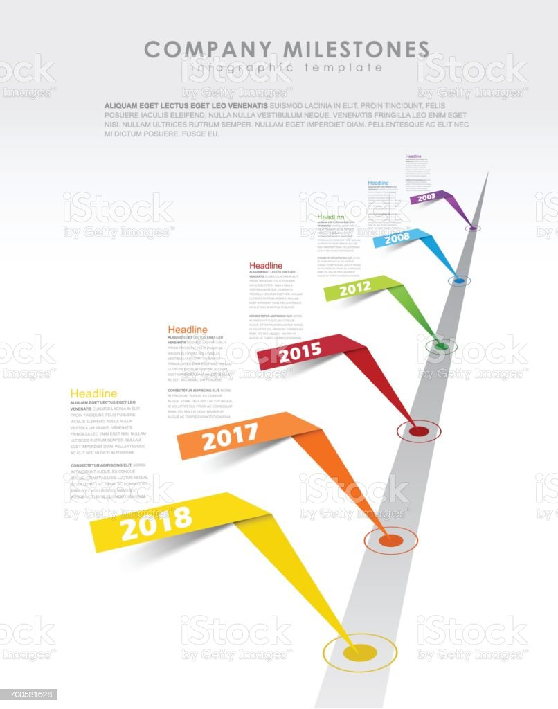 infographic timeline template with colorful paper stripes stock