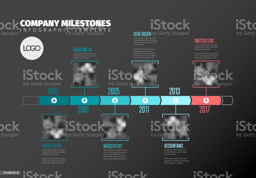 Modelo de Timeline infográfico com fotos - Vetor de Acionista royalty-free