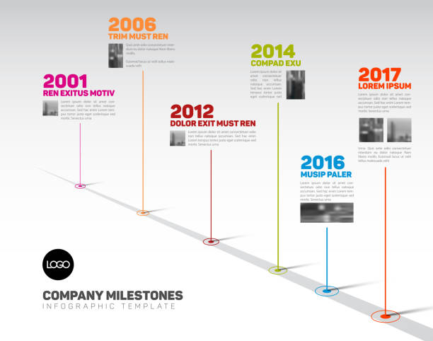 infographic timeline template with pointers and photos - timeline stock illustrations