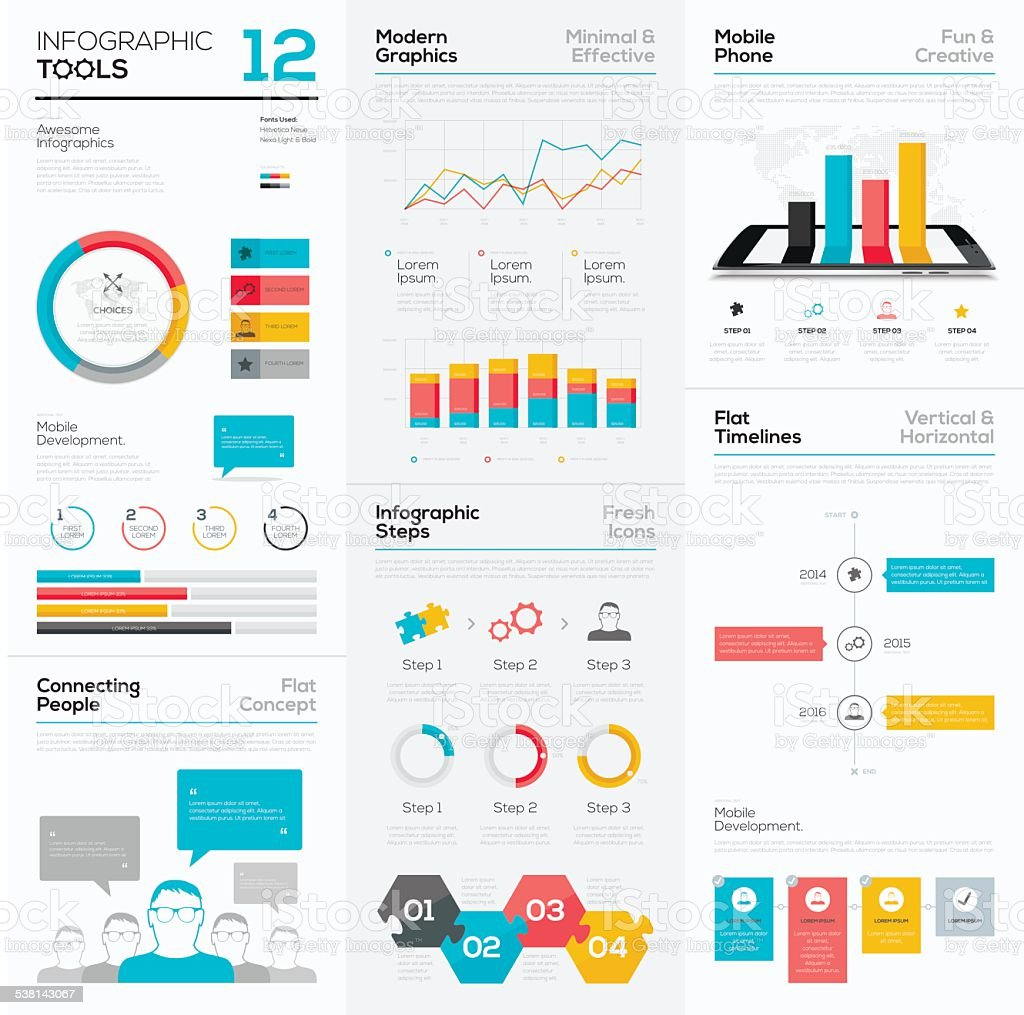 Infographic tools and business vector graphics elements vector art illustration