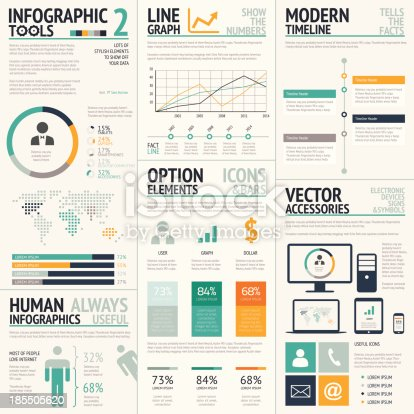 Big vector set of modern business infographics.