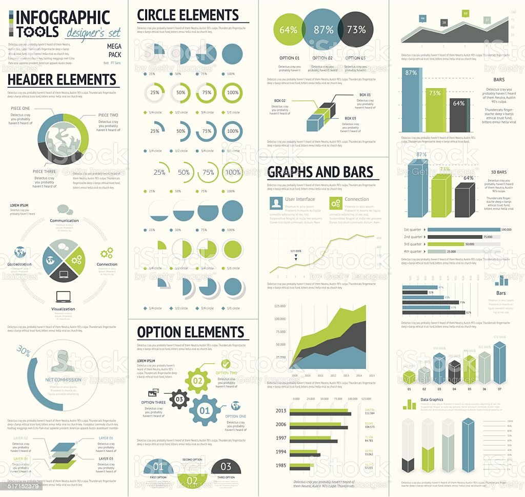 Infographic tools designer's edition vector art illustration
