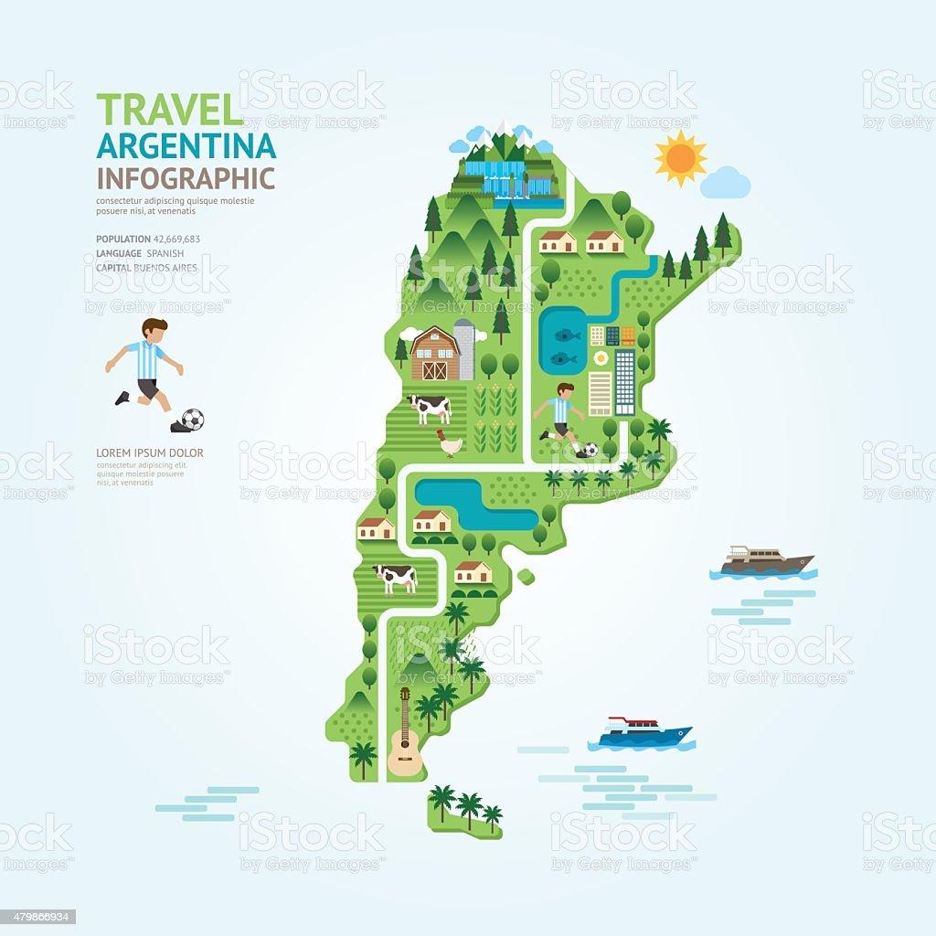 Infografía viajes y emblemático argentina mapa forma de la plantilla - ilustración de arte vectorial