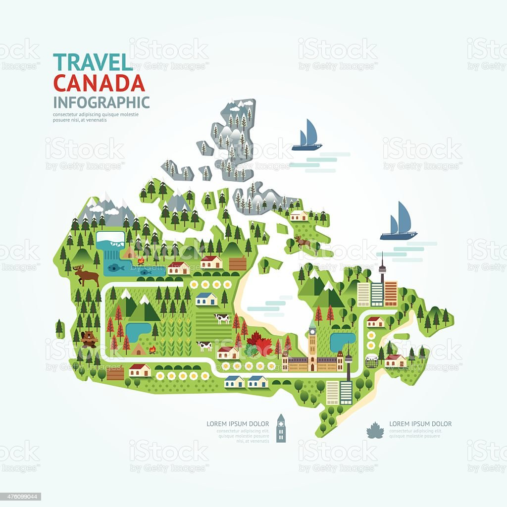 Infographic travel and landmark canada map shape template design vector art illustration