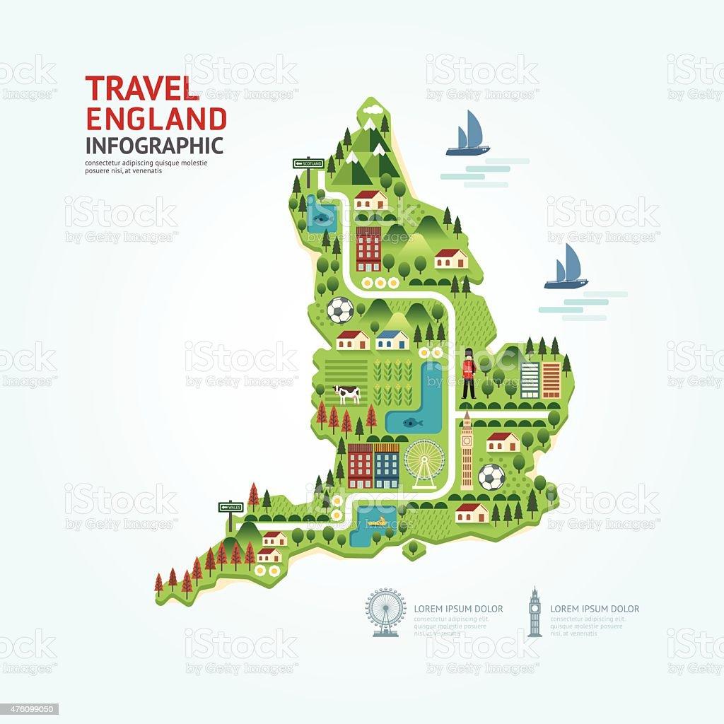 Infografía de viajes y emblemático Inglaterra, Reino Unido, mapa de forma - ilustración de arte vectorial