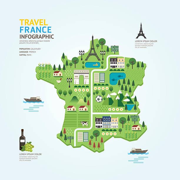 ilustrações, clipart, desenhos animados e ícones de infográfico viagem e marco frança mapa forma modelo de design - infográficos de site