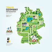 Infographic travel and landmark germany map shape template .