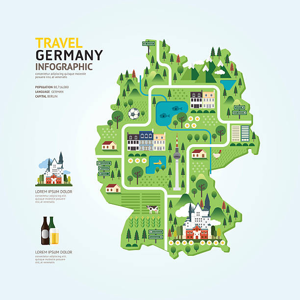 Infografía de viajes y emblemático Alemania mapa forma plantilla. - ilustración de arte vectorial