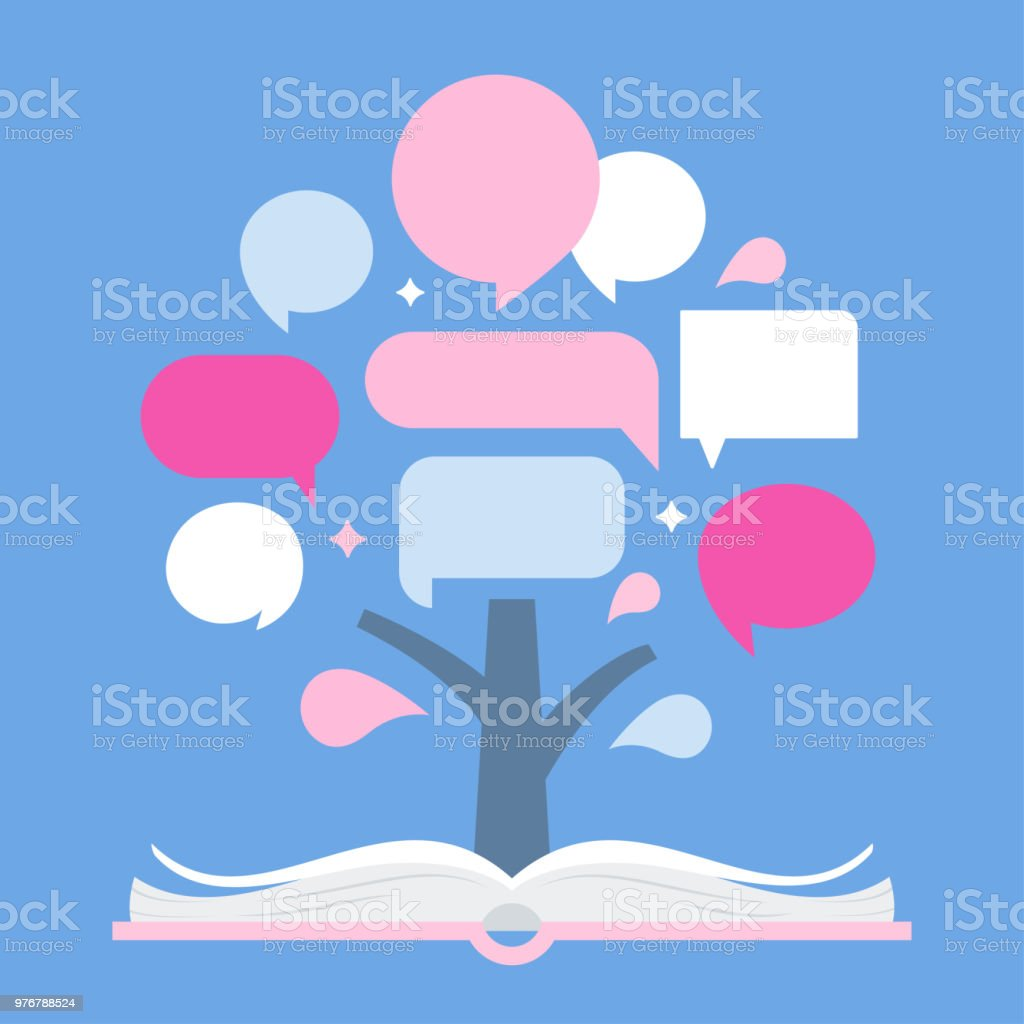 infographic tree and open book presentation template for quotes and