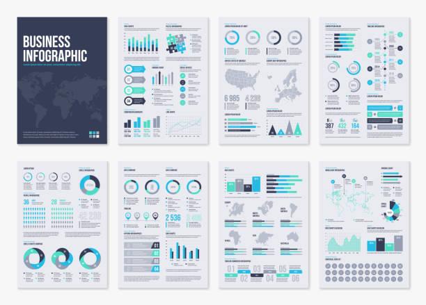 stockillustraties, clipart, cartoons en iconen met infographic brochure vectorelementen voor zakelijke illustratie in moderne stijl. - infographic