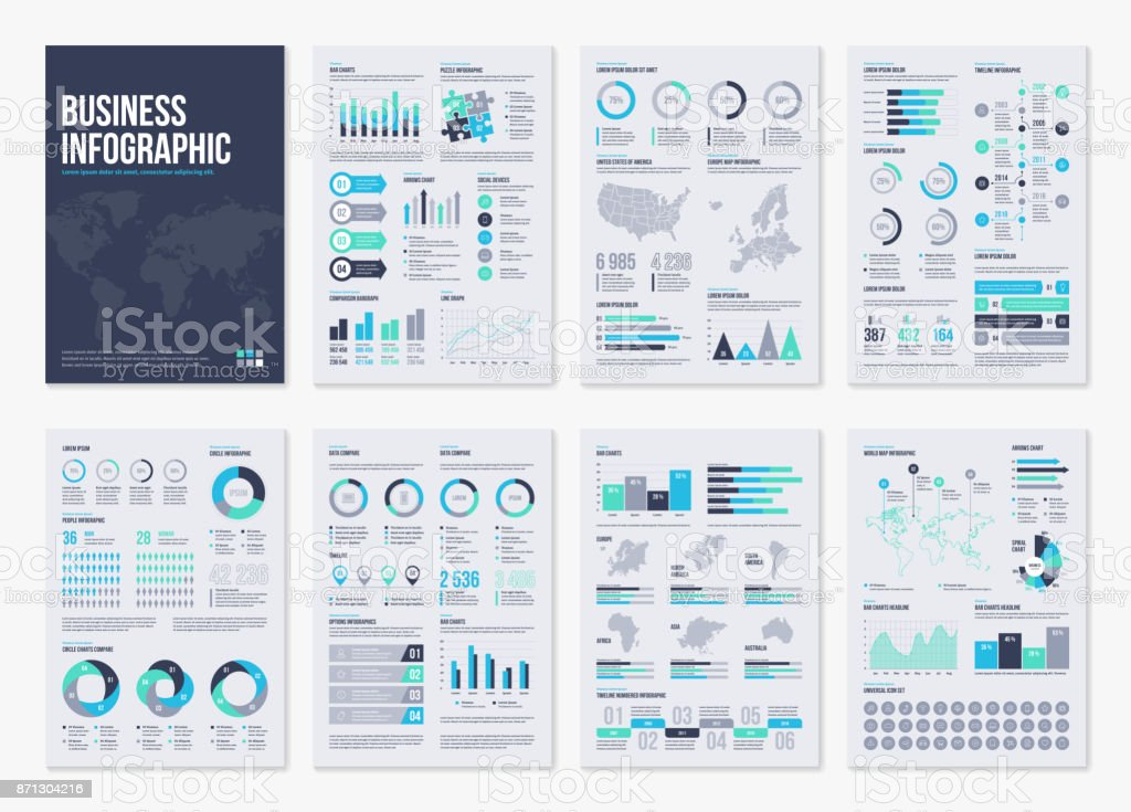 Éléments de brochure infographie vectoriels pour illustration d'affaires dans un style moderne. - Illustration vectorielle