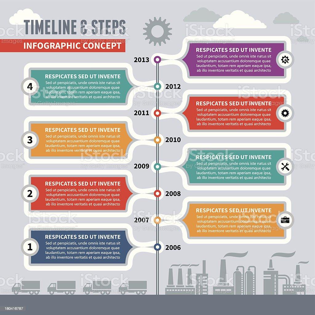 Infographic Vector Concept - Timeline & Steps vector art illustration