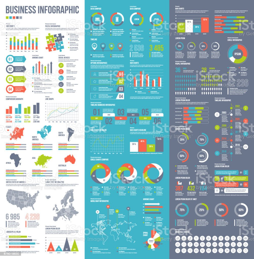 Infographic vector elements for business illustration in flat style. - ilustração de arte vetorial