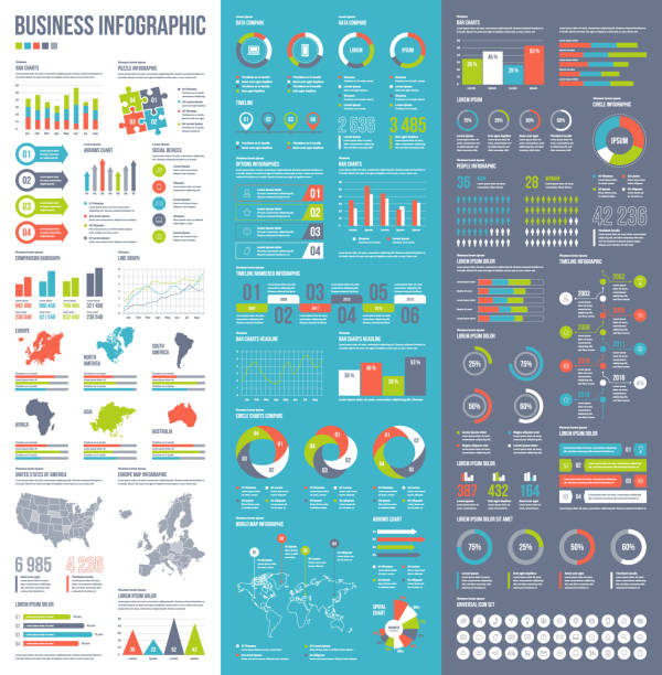 infographic vector elements for business illustration in flat style. - infographics stock illustrations, clip art, cartoons, & icons