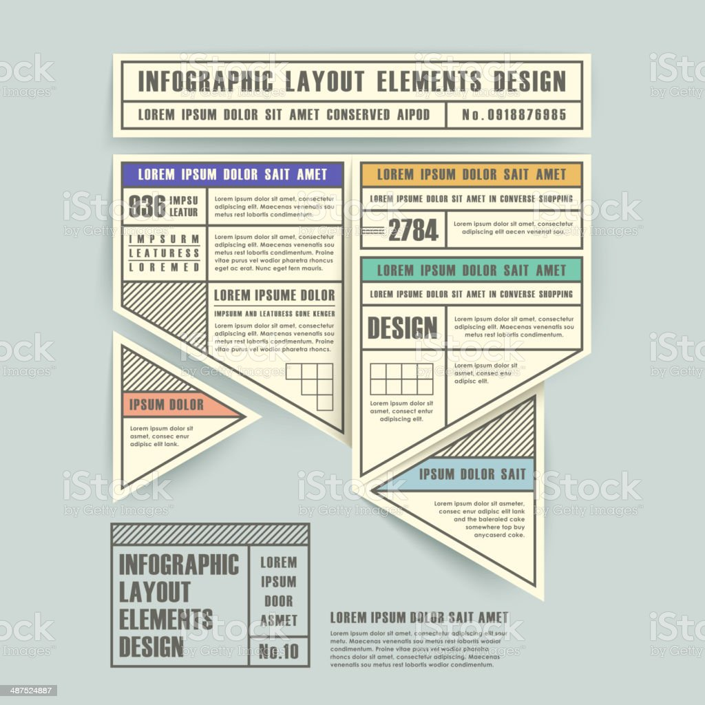 infographic vector elements with origami label style vector art illustration