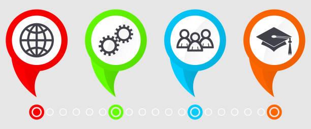 Plantilla de vector de infografía por concepto de presentación, carta, diagrama, educación y tecnología con 4 opciones. - ilustración de arte vectorial