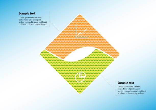 Infographic vector template with shape of square. Graphic is divided to two curved color parts filled by patterns. Each section is joined with simple sign. Background is light blue. vector art illustration