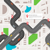 Infographic vector with a winding road, city map with a red markers and rounded icons.