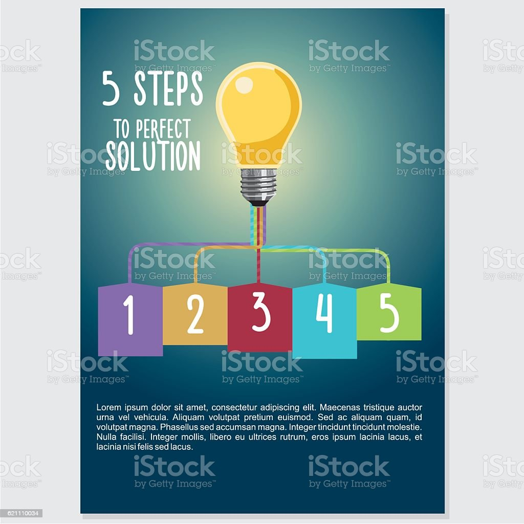 infographic visualization with light buld five steps to success