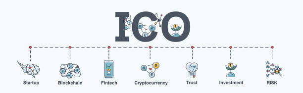 ICO (Initial Coin Offering) infographic web banner icon. Startup, Block chain diagram, cryptocurrency, financial technology, Trust, Investment and Risk. vector in modern flat style. ICO (Initial Coin Offering) infographic web banner icon. Startup, Block chain diagram, cryptocurrency, financial technology, Trust, Investment and Risk. vector in modern flat style. initial coin offering stock illustrations