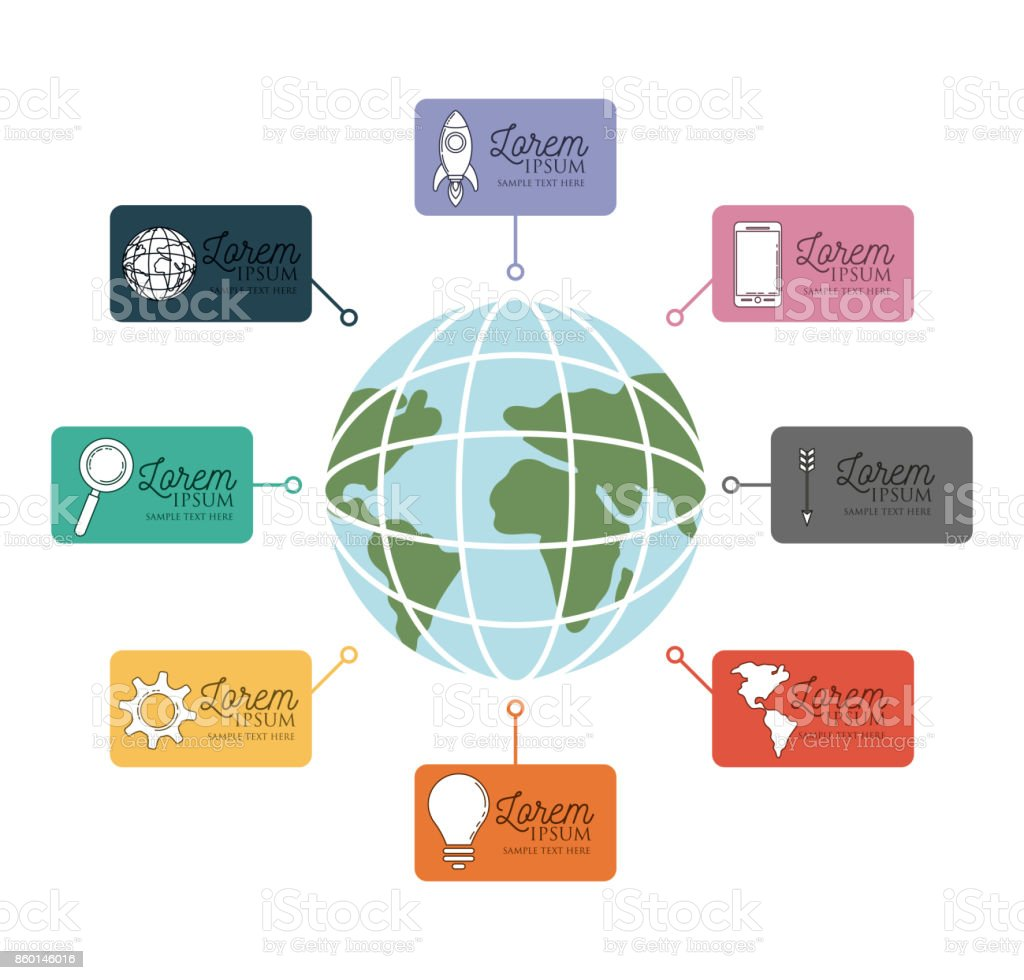 Infographie Avec Des Cartes De Visite Colores Autour Carte Globe