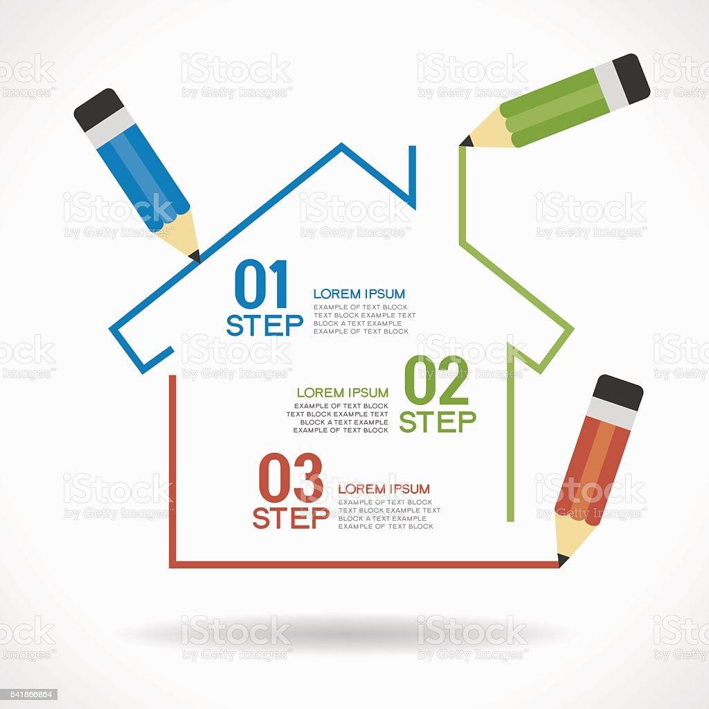 Con casa infografía - ilustración de arte vectorial