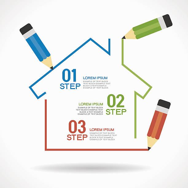 ilustraciones, imágenes clip art, dibujos animados e iconos de stock de con casa infografía - hipotecas y préstamos