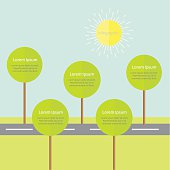 Infographic with road tree and sun. Flat design