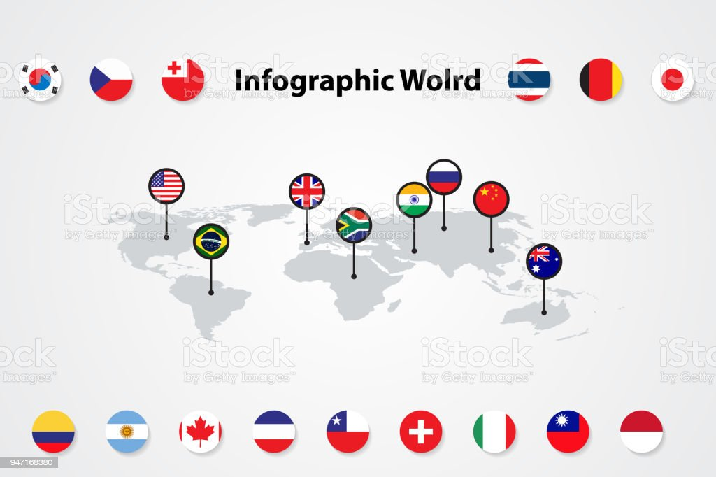 Infographic world map international flags vector illustration stock infographic world map international flags vector illustration royalty free infographic world map international gumiabroncs Image collections