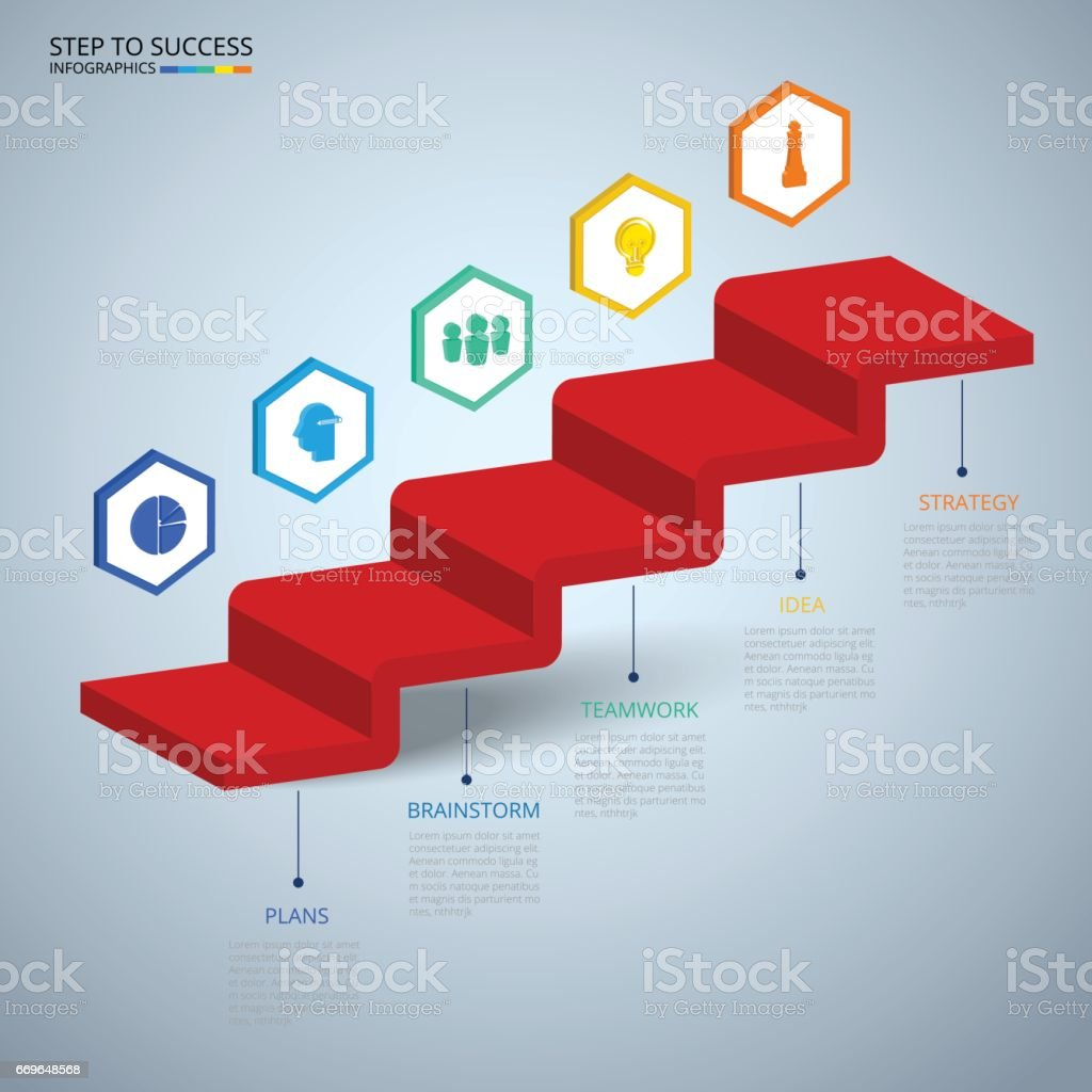 Infographics 3d Stair Step To Success Concept Business Timeline ...