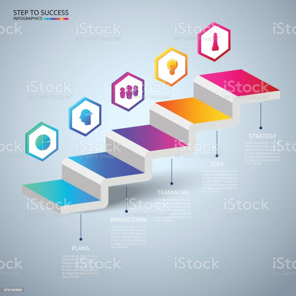 infographics 3d stair step to success concept business timeline modern colorful infographics