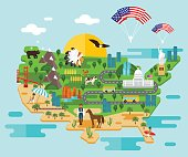 Tourist infographics about America. National symbols. Famous attractions. Welcome to the USA