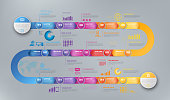 Colorful template business concept timeline arrows. Infographics layout with 15 steps, workflow history with diagram,presentation and graph